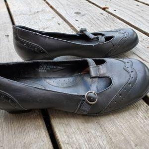 Merona, black leather oxford style ballet syle sho